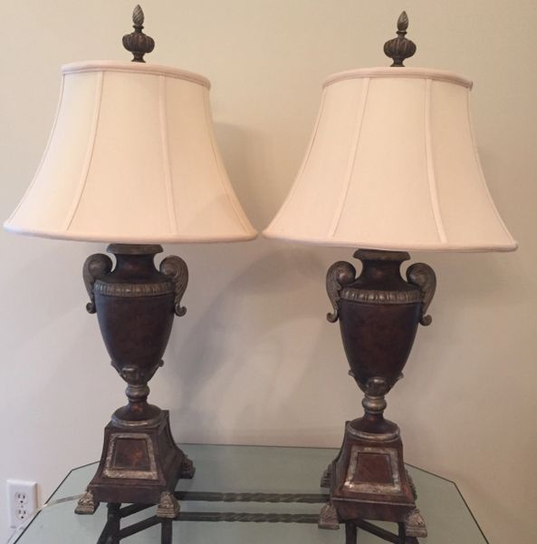 Pair of bronze table lamps by fine art lamps klm luxury consignment pair of bronze table lamps by fine art lamps aloadofball Images
