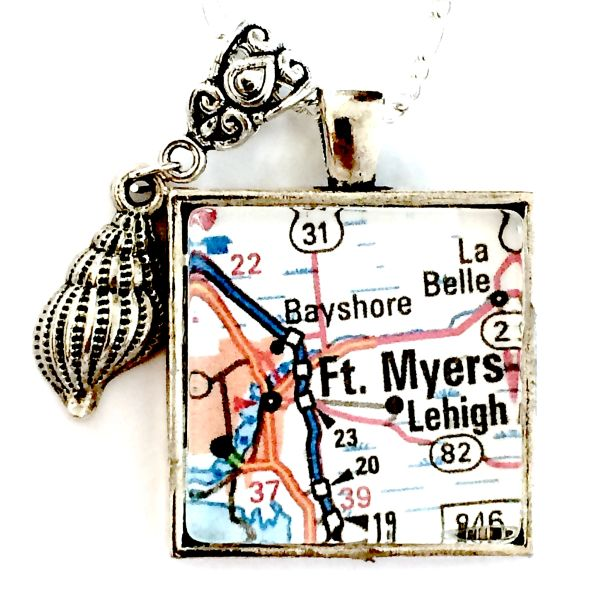 Florida Map Fort Myers.Ft Myers Florida Map Necklace Mainely Local Hand Crafted Products