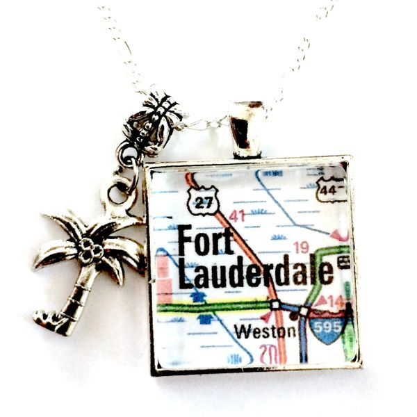 Ft Lauderdale Florida Map.Ft Lauderdale Florida Map Necklace Mainely Local Hand Crafted