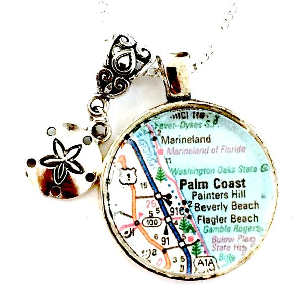 Palm Coast Florida Map.Palm Coast Map Necklace Mainely Local Hand Crafted Products