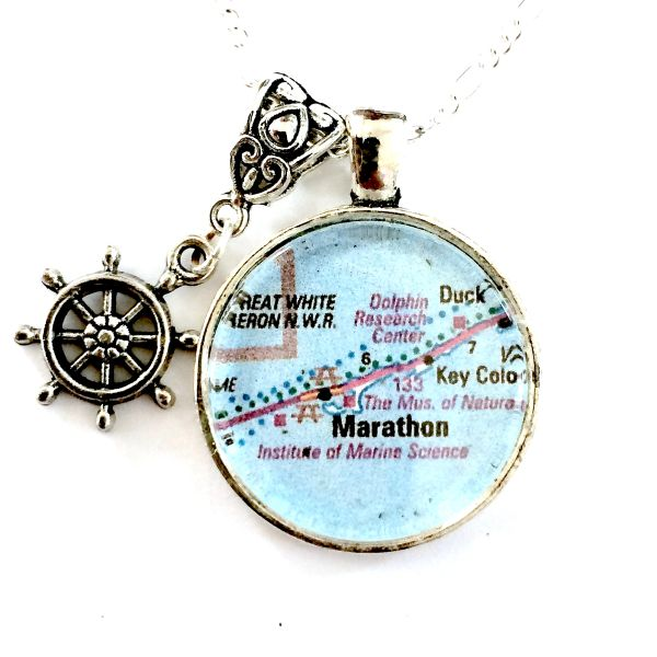 Marathon Florida Map.Marathon Florida Map Necklace Mainely Local Hand Crafted Products