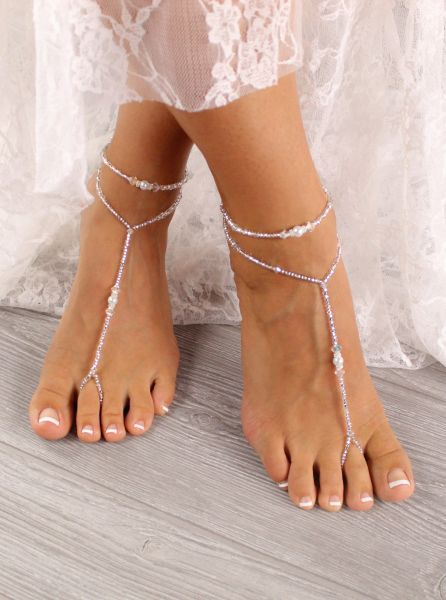 098efeb184e7 Pearl   Crystal Sandal Anklet Set Bridal Foot Jewelry SA2