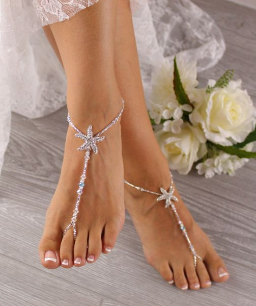 f7909557020a Bridal Starfish Foot Jewelry Something Blue Wedding Barefoot Sandals SFJ11