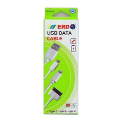 ERD PC-33 30 Pin To USB Data Sync And Charging Cable - White For Iphone 4 / 4S Ipad 1 / 2 / 3