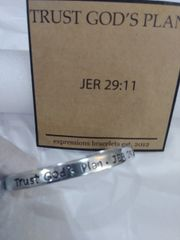 EB Trust God's Plan Mantra Cuff Bracelet Silver