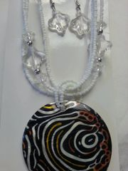 Jewelry Set Caribbean Shell Collection Black White Swirls