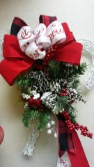 Christmas Wreath White Wicker Candy Cane