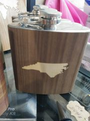 Flask North Carolina State Wooden Cover