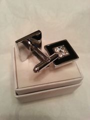 Cufflinks Square with Gem Accent