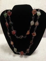 Jewelry Necklace Silver Twist Multi Color Gem