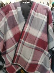 Open Front Oversized Fleece Blanket Cape Burgundy and Grey