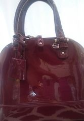 Handbag Patent Leather Wine Satchel