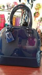 Handbag Navy Patent Leather Satchel