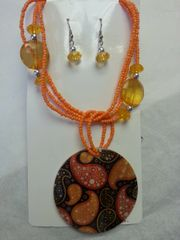 Jewelry Set Caribbean Shell Collection Orange Black White