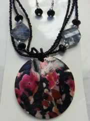 Jewelry Set Caribbean Shell Collection Black Pink Flower Print