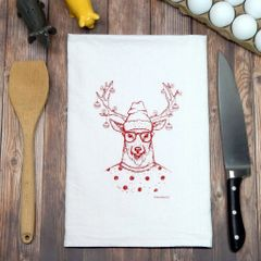 Flour Sack Tea Towel Hipster Reindeer