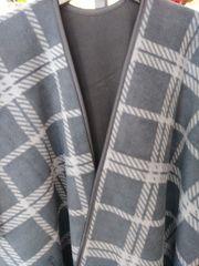 Open Front Oversized Fleece Blanket Cape Black with Grey