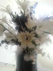 Floral Arrangement White and Black