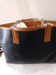Handbag Black and Cognac Tote
