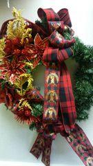 Christmas Wreath Deer Plaid