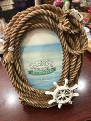 Coastal Decor Rope with Wheel 4x6 Resin Picture Frame