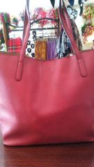 Handbag Red Tote with Studded Side and Accessory Pouch