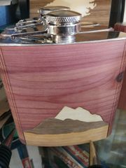 Flask Wooden Cover Mountains