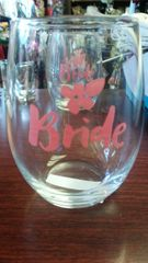 Wedding Bride Stemless Wine Glass