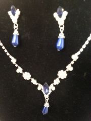 Wedding Blue Tear Drop Pearl Necklace Set