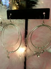 Wedding Earrings Duo Hoop with Rhinestones