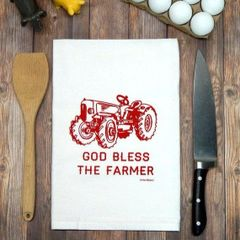 Flour Sack Tea Towel God Bless the Farmer