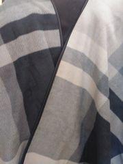 Open Front Oversized Fleece Blanket Cape Black Light and Dark Grey