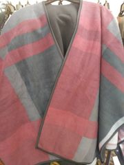 Open Front Oversized Fleece Blanket Cape Burgundy Grey Black