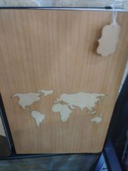 Notebook Wooden Cover World Map