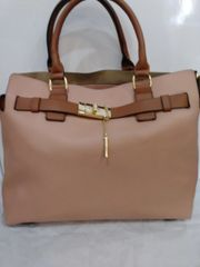Handbag Two-Tone Peach Satchel