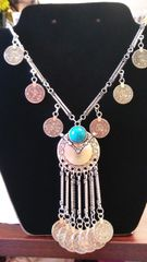 Jewelry Bohemian Gypsy Boho Silver Coin Tassel Pendant Necklace