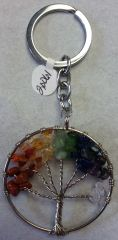 Tree of Life Multi Stone Keychain