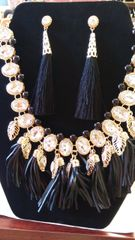 Jewelry Necklace Set Vintage Multilayer Tassel Rhinestone Collar