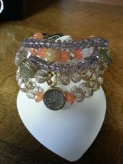 Jewelry Bracelet Crystal Tan and Coral Chain