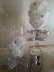 Wedding Toasting Glasses White Roses