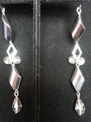 Wedding Earring Silver Twist with Gems