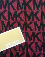 Michael Kors Cold Weather Scarf Black and Burgandy