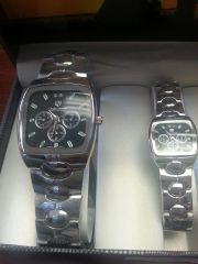 "His & Hers Watch Set ""Silver with Black Dial Face"