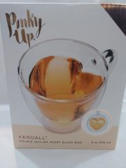 Pinky Up Heart Double Walled Glass Tea Mug