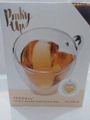 Pinky Up Heart Double Walled Glass Tea Mug