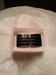 Cufflinks Silver & Black Square
