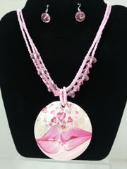 Jewelry Set-Caribbean Shell Collection-Necklace & Earrings Pink Lips with Hearts