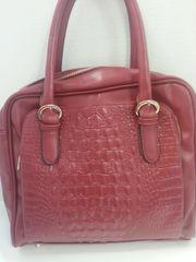Handbag - Faux Crocodile Handbag - Red