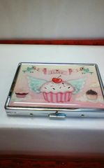 Fluff Metal Business Card Case-Cupcake