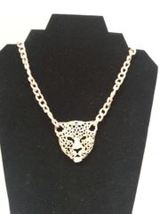 Jewelry Necklace Gold Chain Link with Cheetah Head